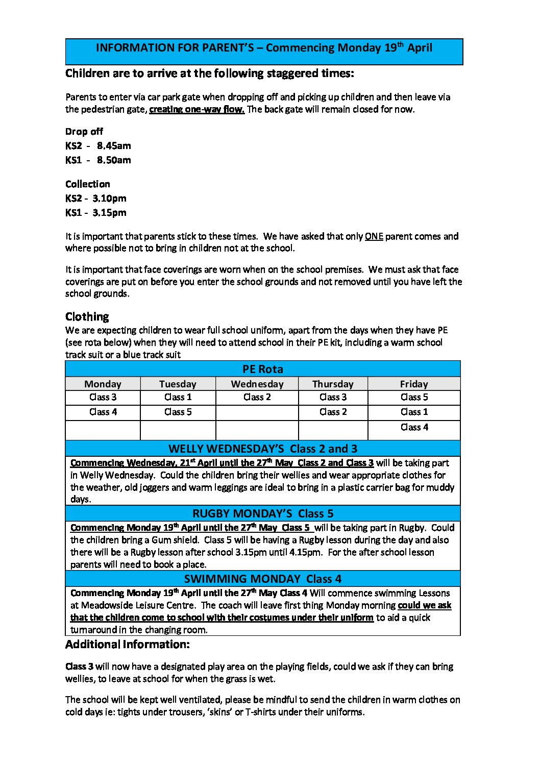 INFORMATION FOR PARENTS – RETURN TO SCHOOL MONDAY 19TH APRIL 2021