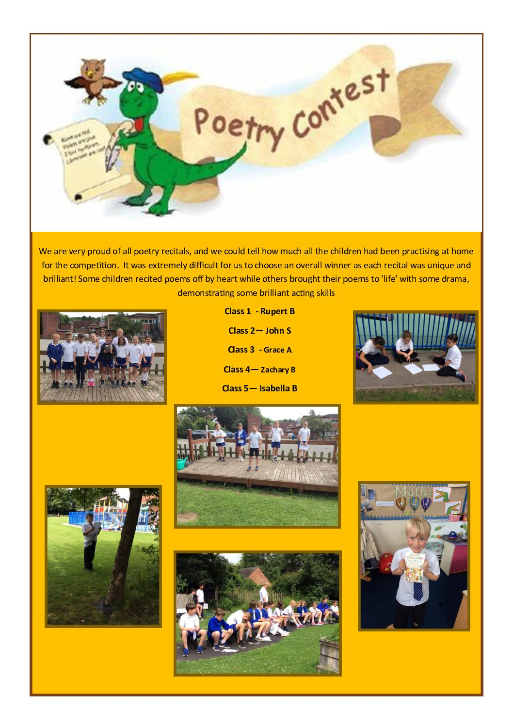 Poetry Competition Winner's