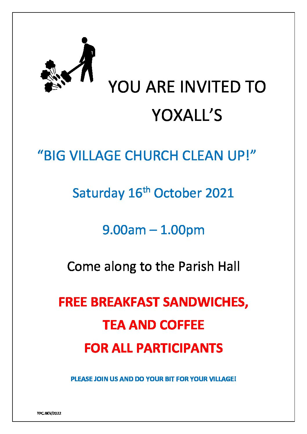 Big Village Church Clean up – Saturday 16th October 2021